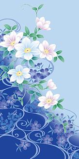 和風花柄スマホケース 青色