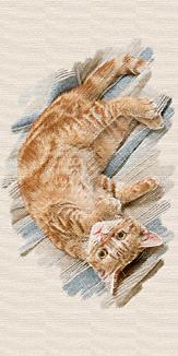 猫_パステル画風 二匹目