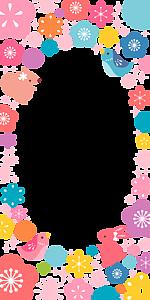 カラフルな花と動物のフレーム