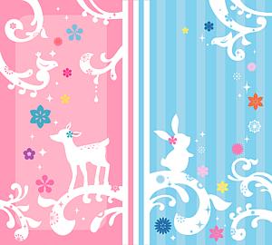 うさぎと小鹿の手帳タイプデザイン