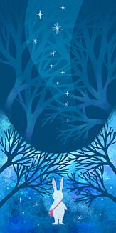 うさぎと夜の風景