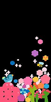 花と小鳥とミツバチ