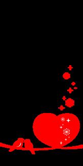 真っ赤なハートと小鳥