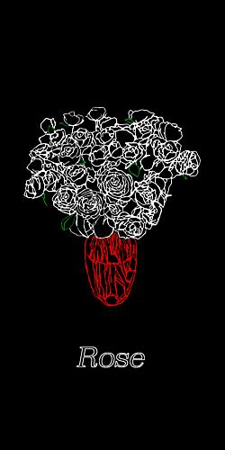 薔薇の花瓶【黒】