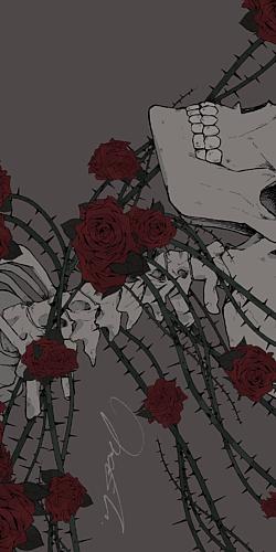 【スマホケース】骸骨×薔薇