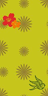牡丹×鳥×花柄-イエロー