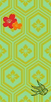 牡丹×鳥×紋章-グリーン