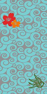 牡丹×鳥×ぐるぐる-グリーン