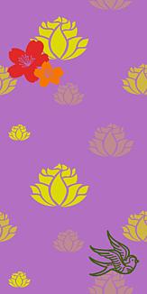 牡丹×鳥×蓮-イエロー