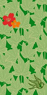 牡丹×鳥×紅葉-グリーン