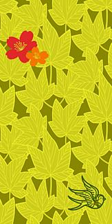 牡丹×鳥×紅葉-イエロー