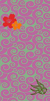 牡丹×鳥×ぐるぐる-ピンク