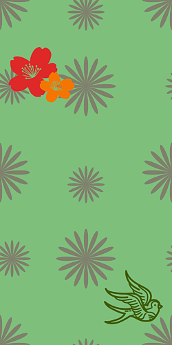 牡丹×鳥×花柄-グリーン