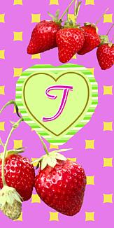 いちご♡イニシャル『T』ピンク