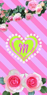 バラ♡イニシャル『M』ボーダー