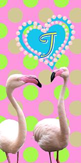 フラミンゴ♡イニシャル『T』ピンク