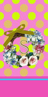 フラワーリース♡イニシャル『S』ピンク