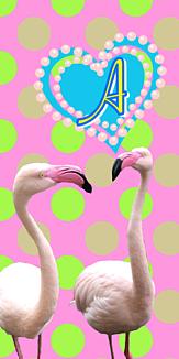 フラミンゴ♡イニシャル『A』ピンク