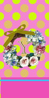 フラワーリース♡イニシャル『Y』ピンク