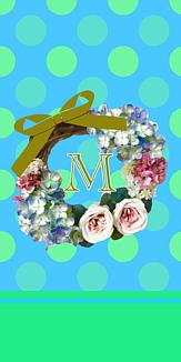 フラワーリース♡イニシャル『M』ブルー