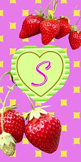 いちご♡イニシャル『S』ピンク