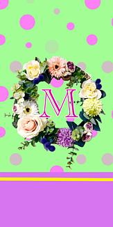 フラワーリース♡イニシャル『M』グリーン