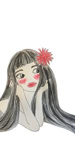 黒髪に赤いお花(ホワイト)
