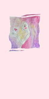 ハートを見つめる(ピンク)