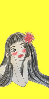 黒髪に赤いお花(イエロー)
