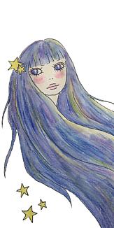 星たちと流れる髪(ホワイト)