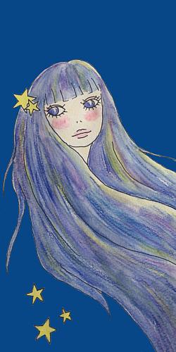 星たちと流れる髪(ネイビー)