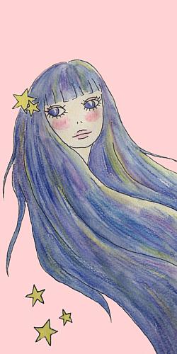 星たちと流れる髪(ピンク)