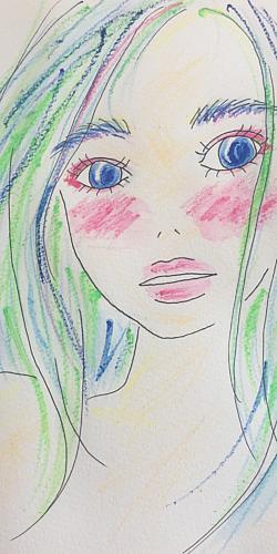 青い目で見つめる