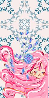 乙女シリーズ 花と女の子(オフホワイトxネイビー柄)