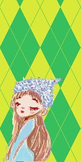乙女シリーズ 帽子の女の子(明るめグリーンxアーガイル)
