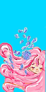乙女シリーズ 花と女の子(ブルー)