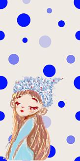 乙女シリーズ 帽子の女の子(青x水玉)