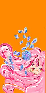 乙女シリーズ 花と女の子(オレンジ)