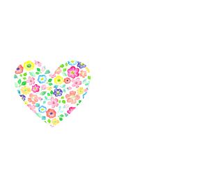 花柄ハート手帳型 ホワイト