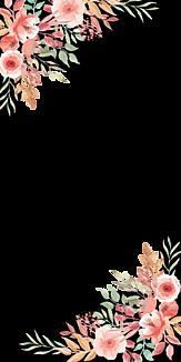 手書き風お花フレーム(黒)