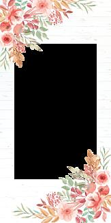手書き風お花フレーム(木目)