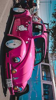 ピンクのvwキティちゃん ワーゲン