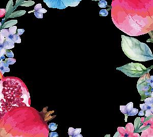 ザクロと花のリース1