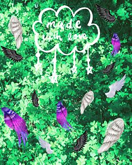 愛のカタチ(緑の植物とカラフルな羽)