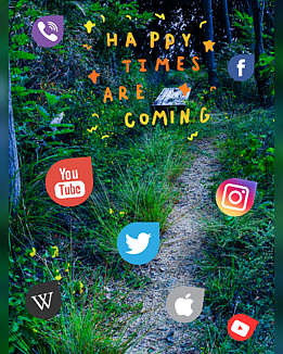 わたしの幸せ(森の山道とアイコン)