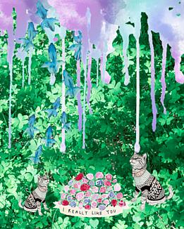 お茶会の前に(子猫と植物)