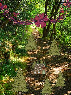 森の住処(緑の森と木)