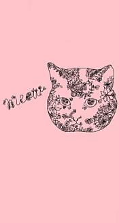 花柄ネコ(ピンク)