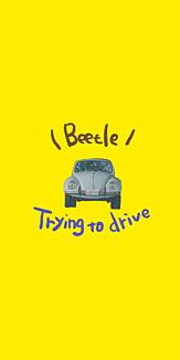 車 ビートル 背景黄色
