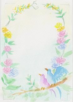 水彩画の小鳥と花々